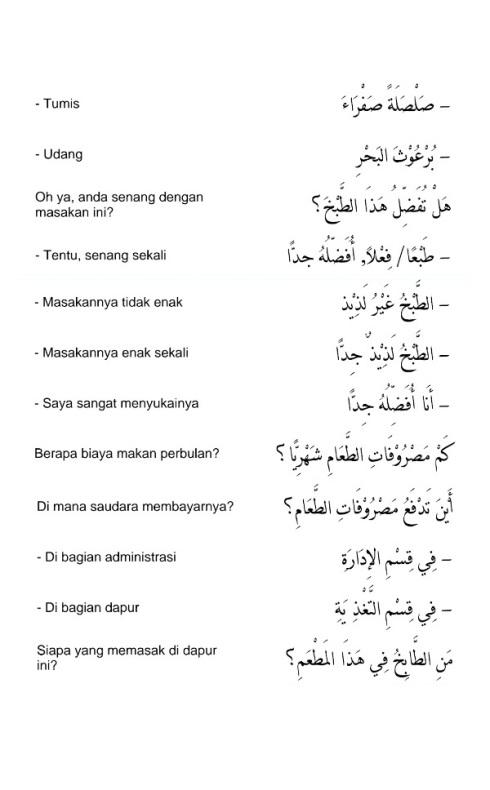 hiwar percakapan bahasa arab - di ruang makan - 8