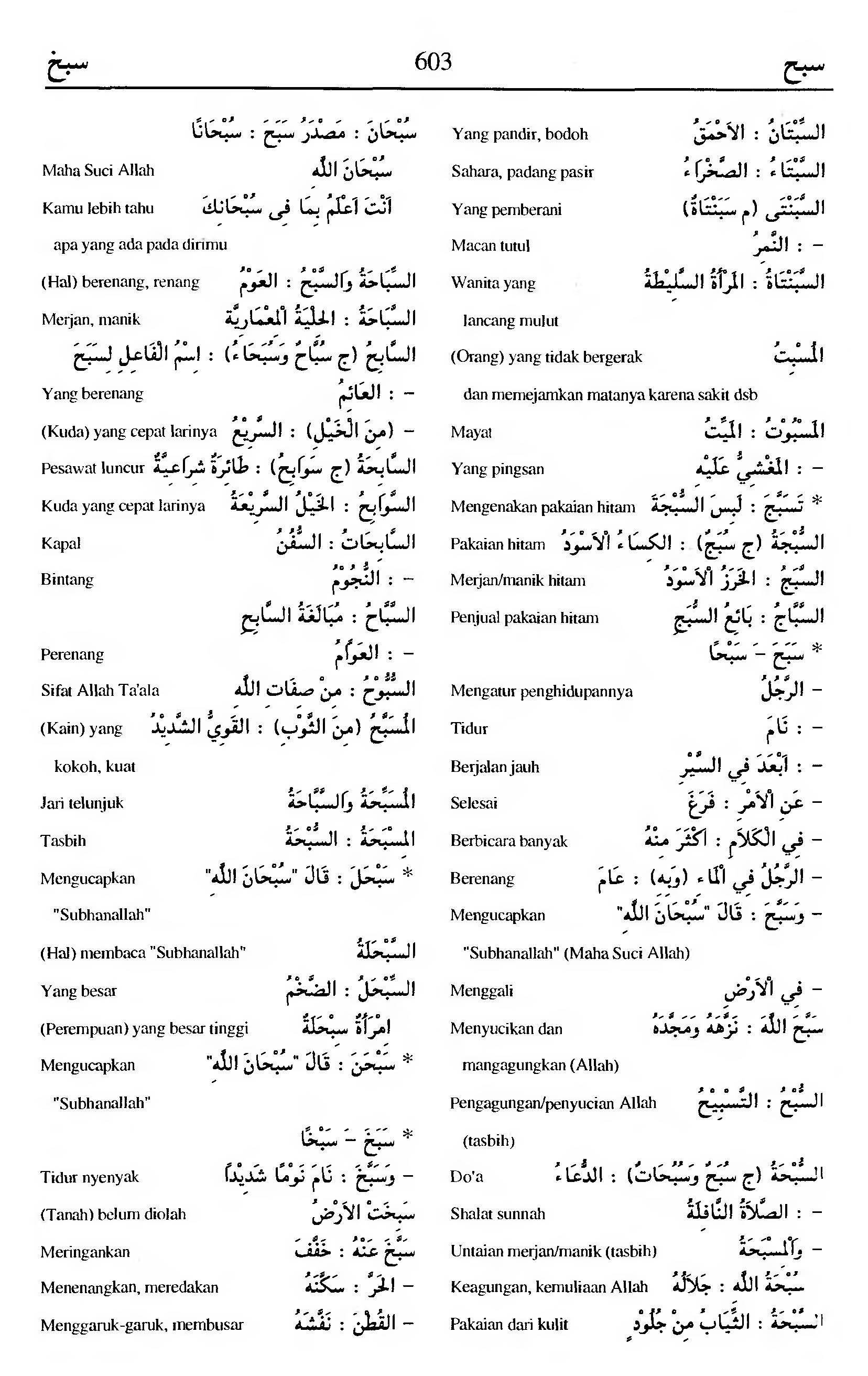 603. Kamus Bahasa Arab Al-Munawir - sabaha-sabakha