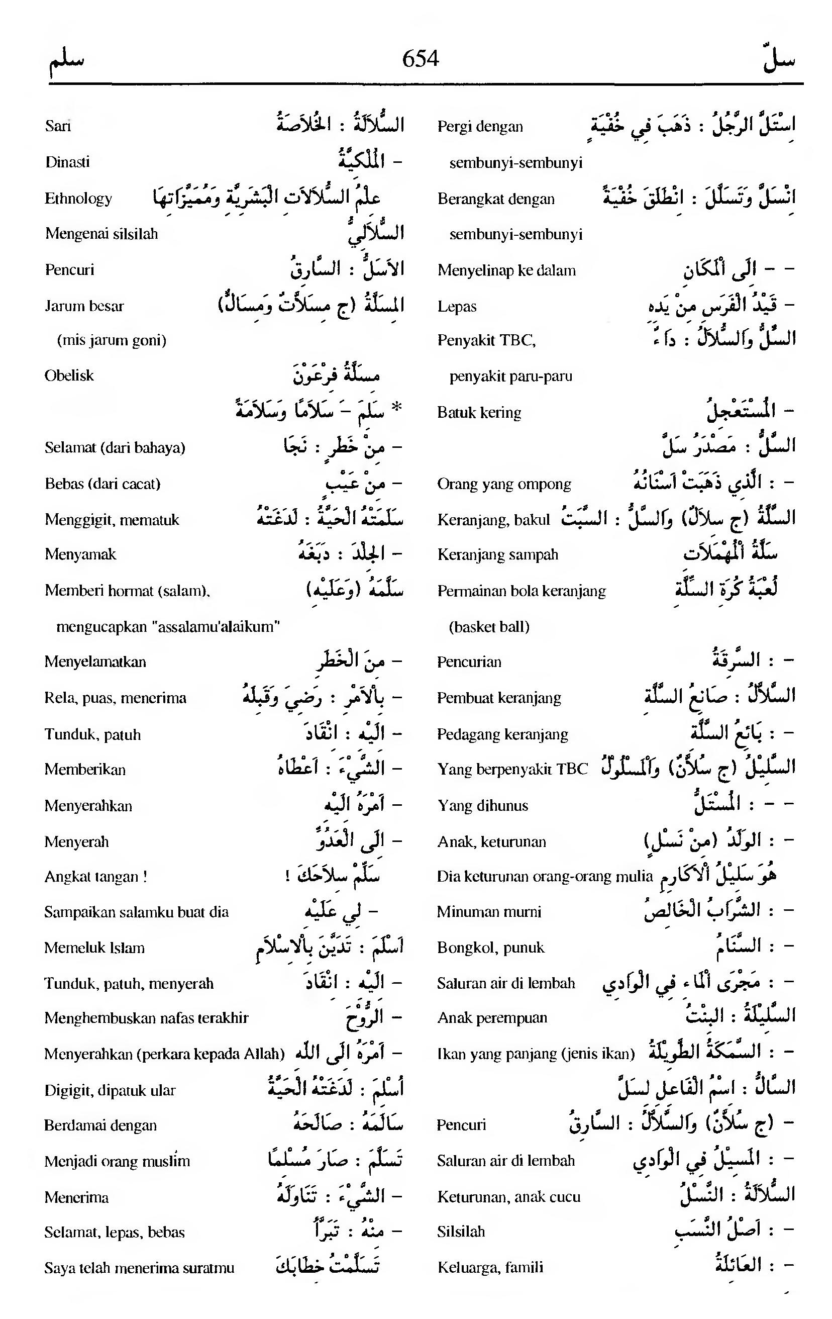 654. Kamus Bahasa Arab Al-Munawir - sallaa-salama