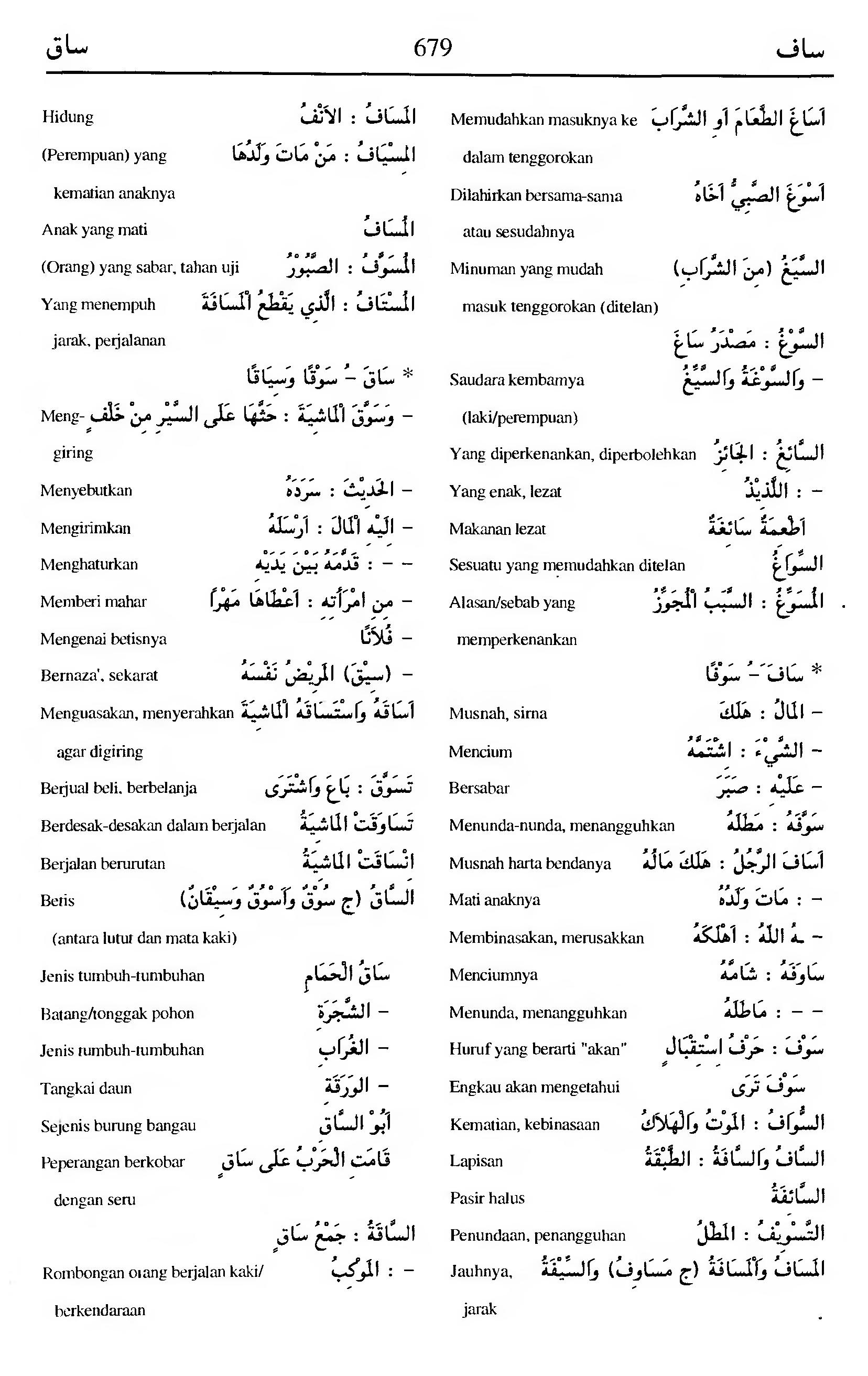 679. Kamus Bahasa Arab Al-Munawir --saafa-saaqa