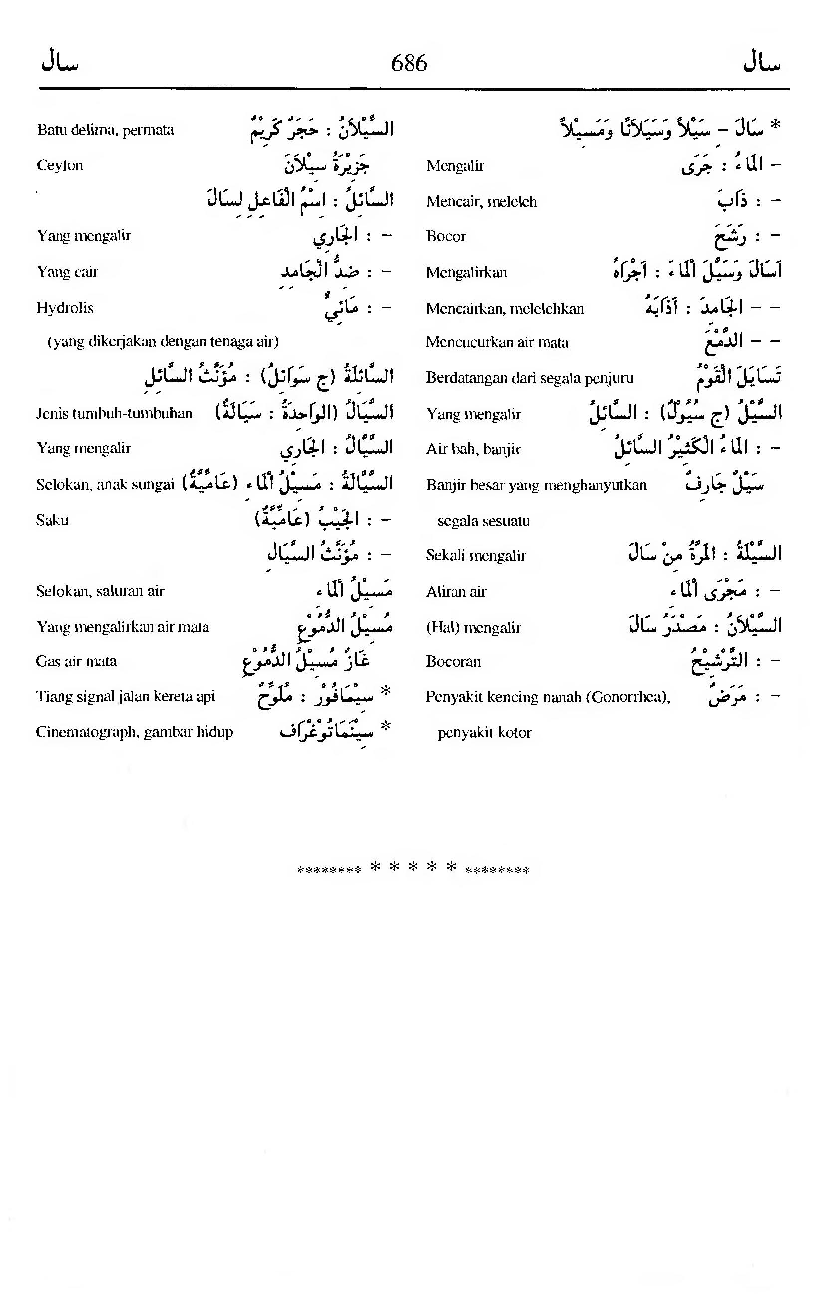 686. Kamus Bahasa Arab Al-Munawir --saala-saala